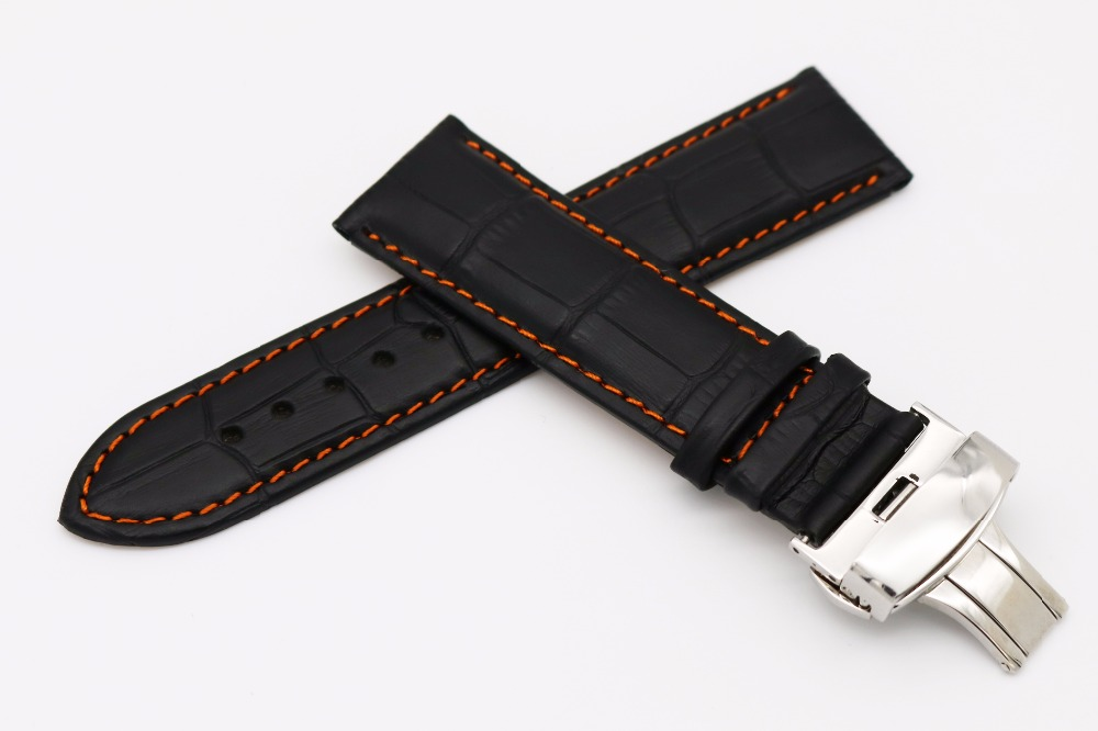 18 20 22mm Man Woman Genuine Leather Handmade Black Orange Stitches Watch Band Strap Belt Silver Double Push Deployment Clasp 18 19 20 21 22mm 24mm watchbands belt men women black brown high quality genuine leather watch band strap deployment clasp