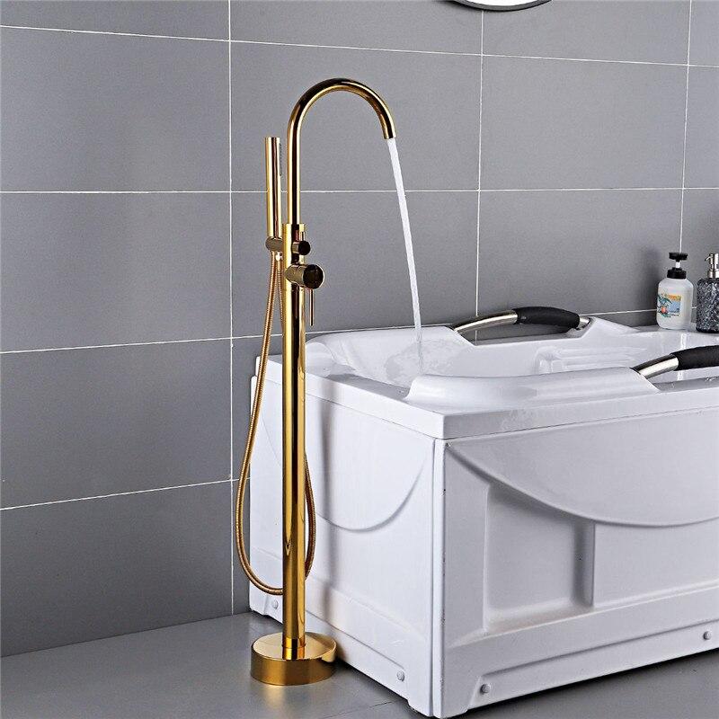 De Chão Do Banheiro Torneira Da Banheira com Chuveiro de Mão Livre Permanente Preto/Ouro/Cromo Banheira Torneiras Misturadoras Montado No Piso