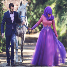 Purple And Pink Lace Long Sleeves Muslim Evening Dresses With Hijab 2015 A-line Evening Gowns Dubai Arabic Dress robe de soiree