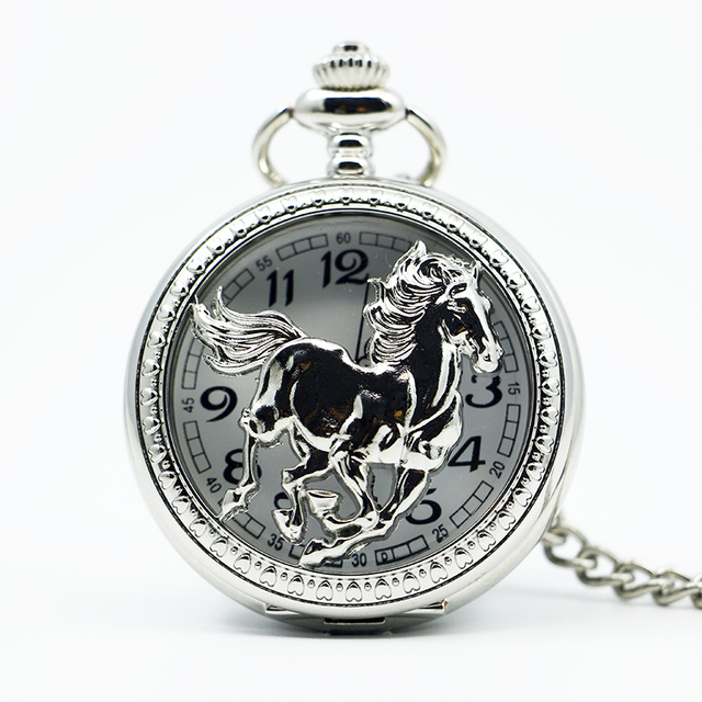 Fashion Silver Horse Carved Pendant Half Hunter Hollow Value Quality Pocket Watc