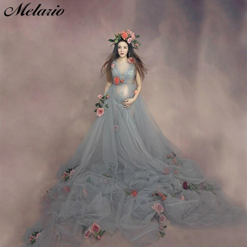 Merlario Maternity Dress 2019 Fashion Maternity Dress Photo Shoot Three Quarter Dress Round neck Bohemian Style