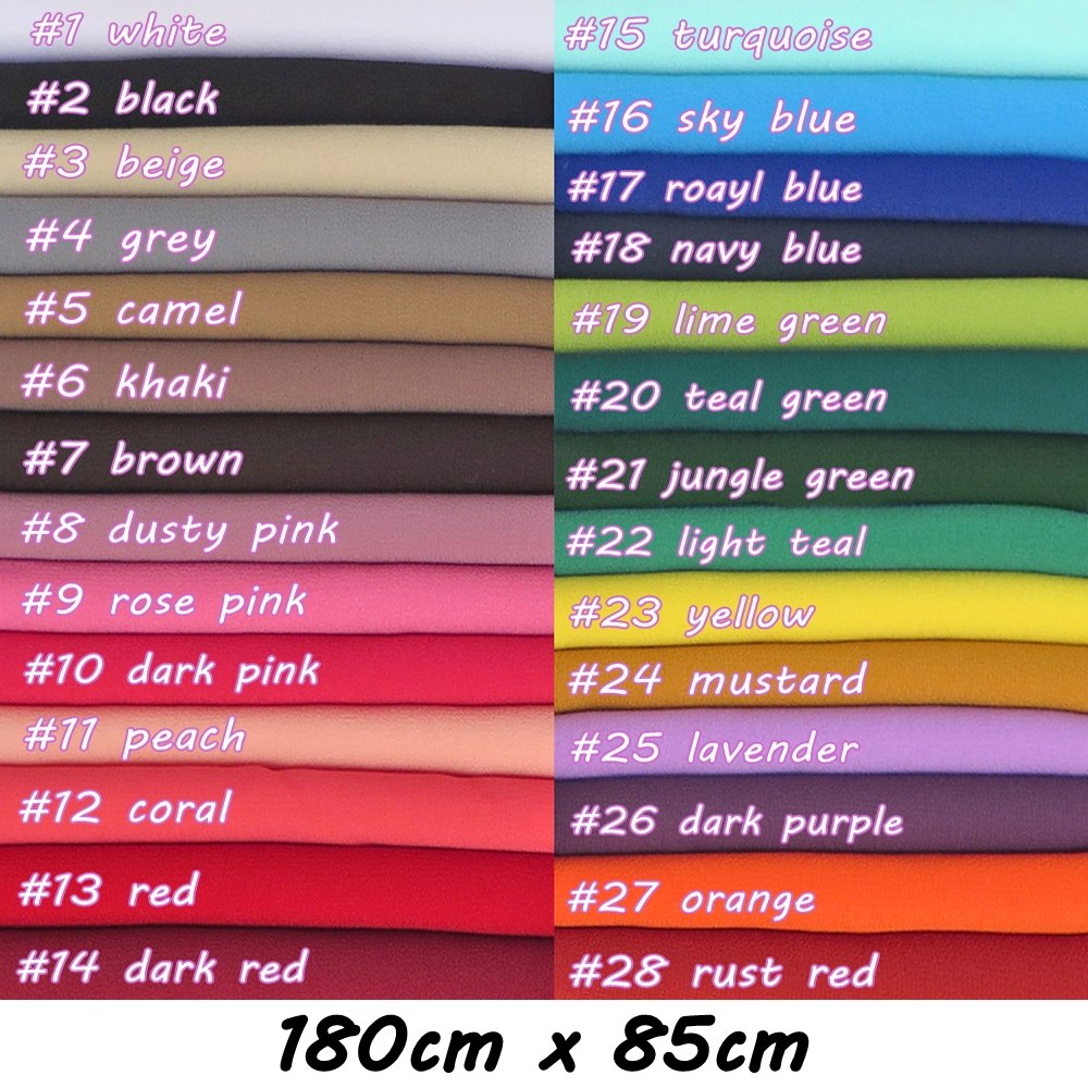 180*85cm Big Size High Quality Bubble Chiffon Women Muslim Hijab Scarf Shawl Wrap Solid Plain Colors 10pcs/lot-in Women's Scarves from Apparel Accessories
