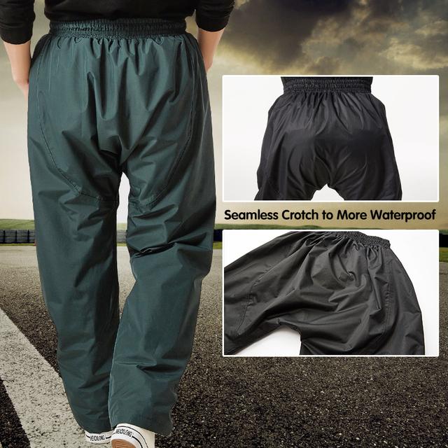QIAN Impermeable Raincoat Outdoor Women/Men Rain Pants Pockets Zipper Men's Waterproof Trousers Cycling Camping Tour Rain Gear