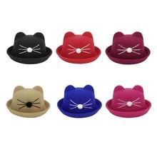 69fc16cb Cartoon Cute Baby Caps Unisex Boys Girls Cat Print Sun Hats Felt Children  Bucket Cap Lovely