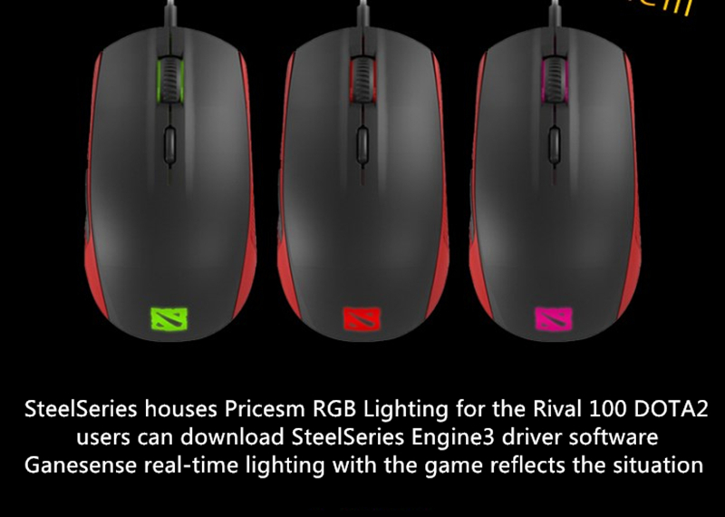Free shipping SteelSeries RIVAL 100 RGB optical wired gaming mouse gaming  dota2 customized version of LOL / CF