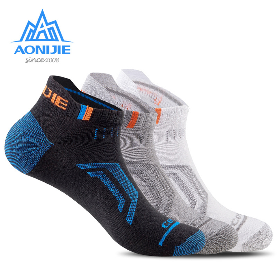 AONIJIE 3 Pairs Men Women Outdoor Sports Running Athletic Performance Tab Training Cushion Low Show Compression Walking Socks