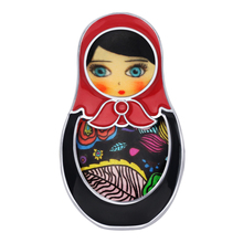 Bonsny Enamel Alloy Cute Russian Dolls Brooch Clothes Scarf Decoration Ethnic Jewelry Pin For Women Girls Teens Gift Accessories