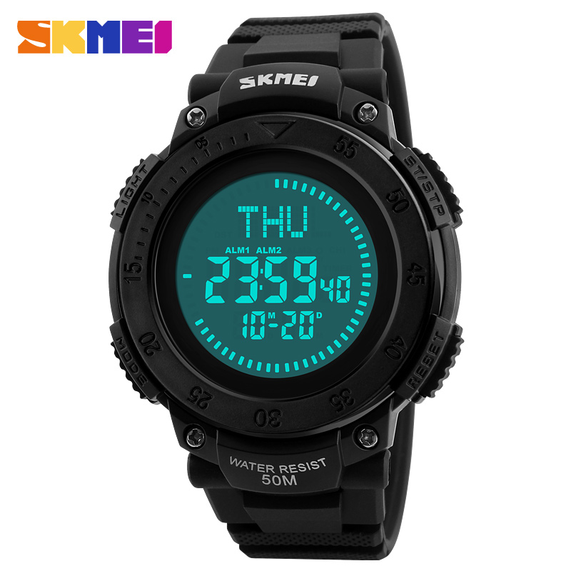 2017 <font><b>SKMEI</b></font> Outdoor Sports Compass Watches Men Military Waterproof Countdown Wristwatches Digital LED Electronic Watch Men Clock image