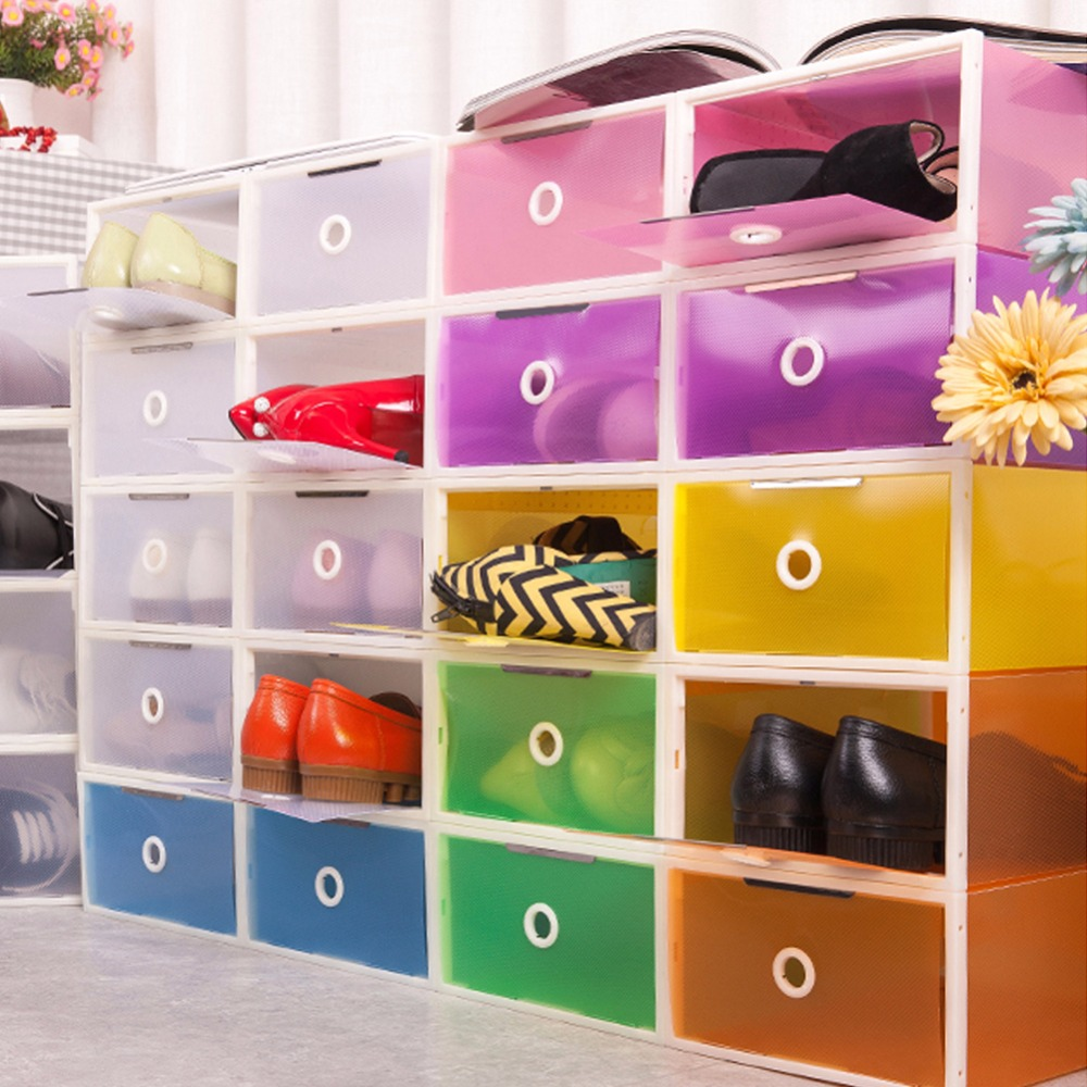 east dazzle color shoe box side open style transparent plastic stackable shoe organizer shoe storage
