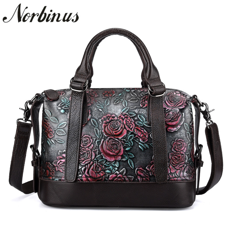Norbinus 2018 Women Handbags Genuine Real Leather Crossbody Shoulder Bags Luxury Designer Flower Messenger Bag Female