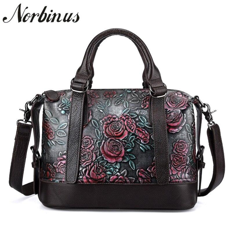 купить Norbinus 2018 Women Handbags Genuine Real Leather Crossbody Shoulder Bags Luxury Designer Flower Messenger Bag Female Large Tote по цене 3197.92 рублей