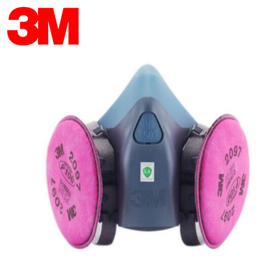 3M 7501+2097 Half Facepiece Mask Reusable Respirator P100 Respiratory Protection Nuisance Level Organic Vapor Relief XK005 3m 7501 6005 half facepiece reusable respirator mask formaldehyde organic vapor cartridge 7 items for 1 set xk001