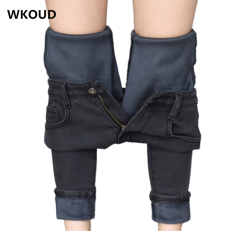 WKOUD Korean Skinny Jeans Women Winter Warm Solid Thicken Jeans Pants Female Black Slim Pencil Pants Washed Denim Trousers P8564