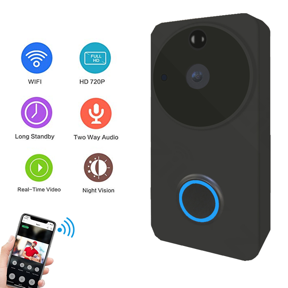 Wifi Doorbell Video HD 720P Battery Wireless Door Bell Security Waterproof IP Camera IR Night Vision Two Way Audio TF Card 32GB vstarcam wireless door bell hd 720p two way audio night vision wide angle video wifi security doorbell camera c95 c95 tz