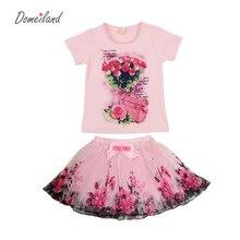 2017 мода лето domeiland детей комплектов одежды дети девушка наряды печати цветочные коротким рукавом хлопок топы юбка костюмы одежда(China (Mainland))