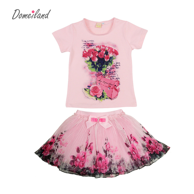 2017 fashion summer children clothing sets kids girl boutique outfits print floral short  sleeve cotton tops skirt suits clothes