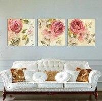 3 панели холст розовый пион картина маслом с пионами картины настенные панно дома деко холст искусства для гостиной GeZ13
