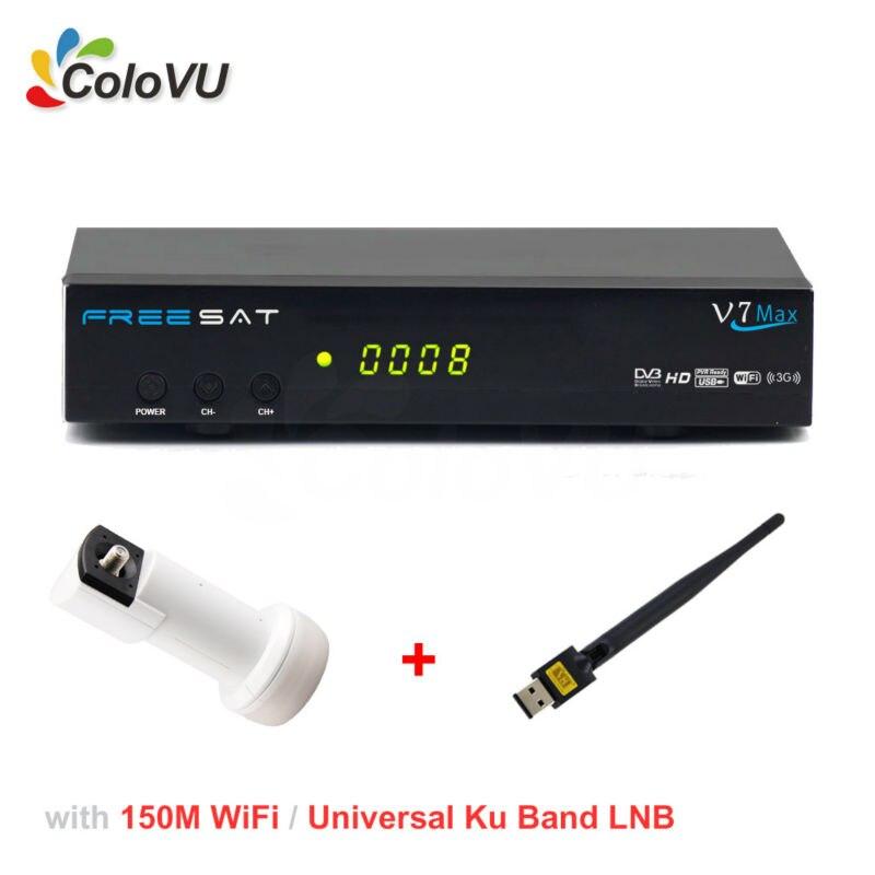 Digital Satellite Receiver Freesat V7 Max HD DVB-S/S2 + USB WiFi + Universal Ku Band LNB support Biss cccam newcamd Powervu sr 320 universal dual polarization ku waveband lnb for digital receiver white grey