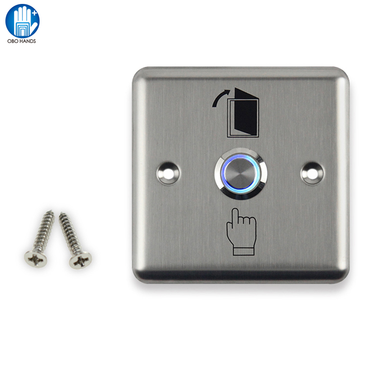 Billet Touch Stainless Steel With Lamp Door Exit Button To Access Control With NO/COM 10pcs no nc com stainless steel exit button with led light for door access control system night vision square metal switch