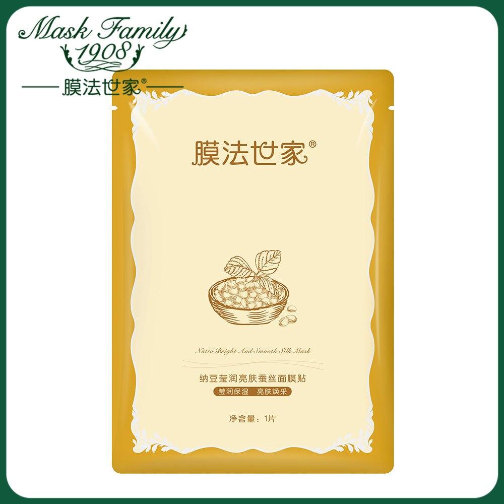 Mask Family 1Pcs Facial Mask Skin Care Face Mask Natto Moisturizing Brightening Silk Mask Natural Plant Extract