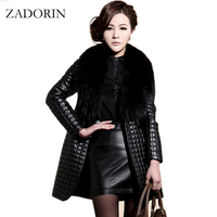 2016 Winter Fashion Faux Leather Jacket With Large Fur Collar Women Black Faux Sheepskin Coat Long