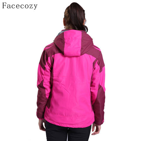 Facecozy Women Outdoor Hiking SoftShell jackets Winter Hooded Thermas Camping Jackets Female Windproof Climbing Coat 2 Pieces Lahore