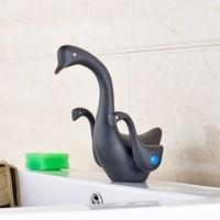 Luxury Duck Shape Basin Faucet Oil Rubbed Bronze Double Handles Swivel Spout Mixer Faucet