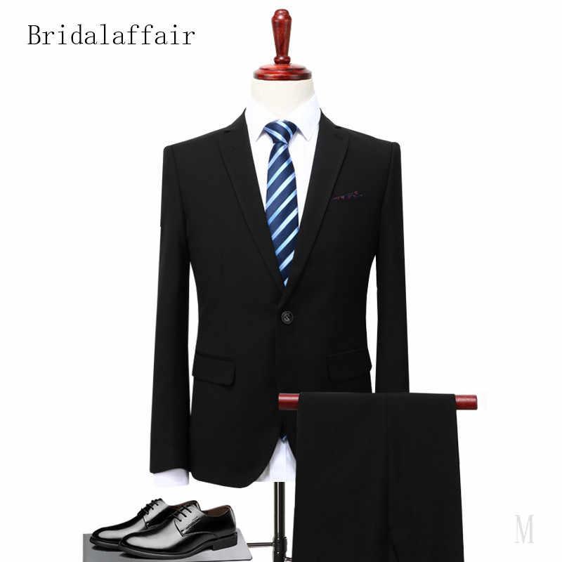Bridalaffair 2018 Trajes clásicos para hombre boda graduación novio esmoquin hombres traje Delgado gris oscuro chaqueta Formal pantalones 2 piezas de trabajo ropa de abrigo
