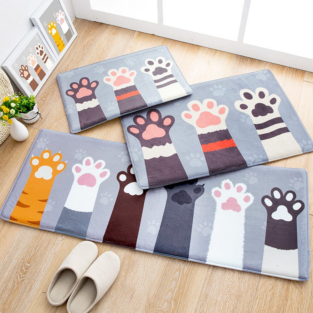 Lovely Washable Mats Cat Paw Print Mat Kitchen For Living Room Flannel Absorbent Non-slip Long Bathroom Mat Home Entrance Mats