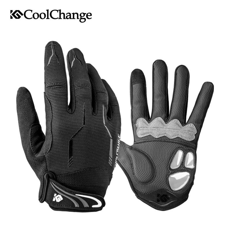 CoolChange Radfahren Handschuhe Winter Voller Finger Thermische GEL Bike Sport Handschuhe Winddicht Stoßfest Touchscreen MTB Fahrrad Handschuhe