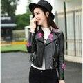 3XLPlus size Women Genuine Leather Jackets Sheepskin Coat Short/Slim/Flower Embroidery 2016 New 16229A