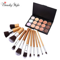 15 Colors Contour Face Cream Makeup Cosmetic Concealer Palette Make Up Kits 11pcs Professional Maquiagem Bamboo