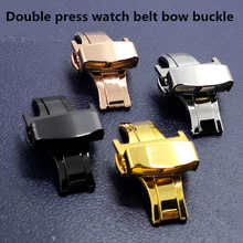 Free Shipping 16 18 20 22mm 304 stainless steel double button bow buckle