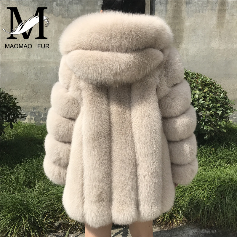 Fur Coat Women Winter Hooded Fox Fur Coat New Fashion High Quality Real Fur Coats
