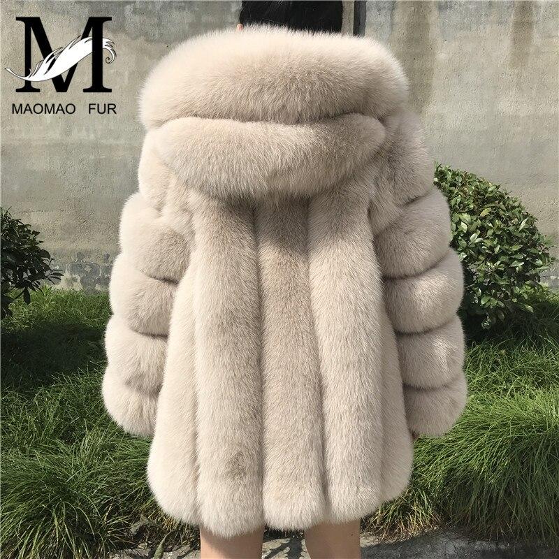 Manteau de fourrure femmes hiver à capuche manteau de fourrure de renard nouvelle mode de haute qualité vrais manteaux de fourrure