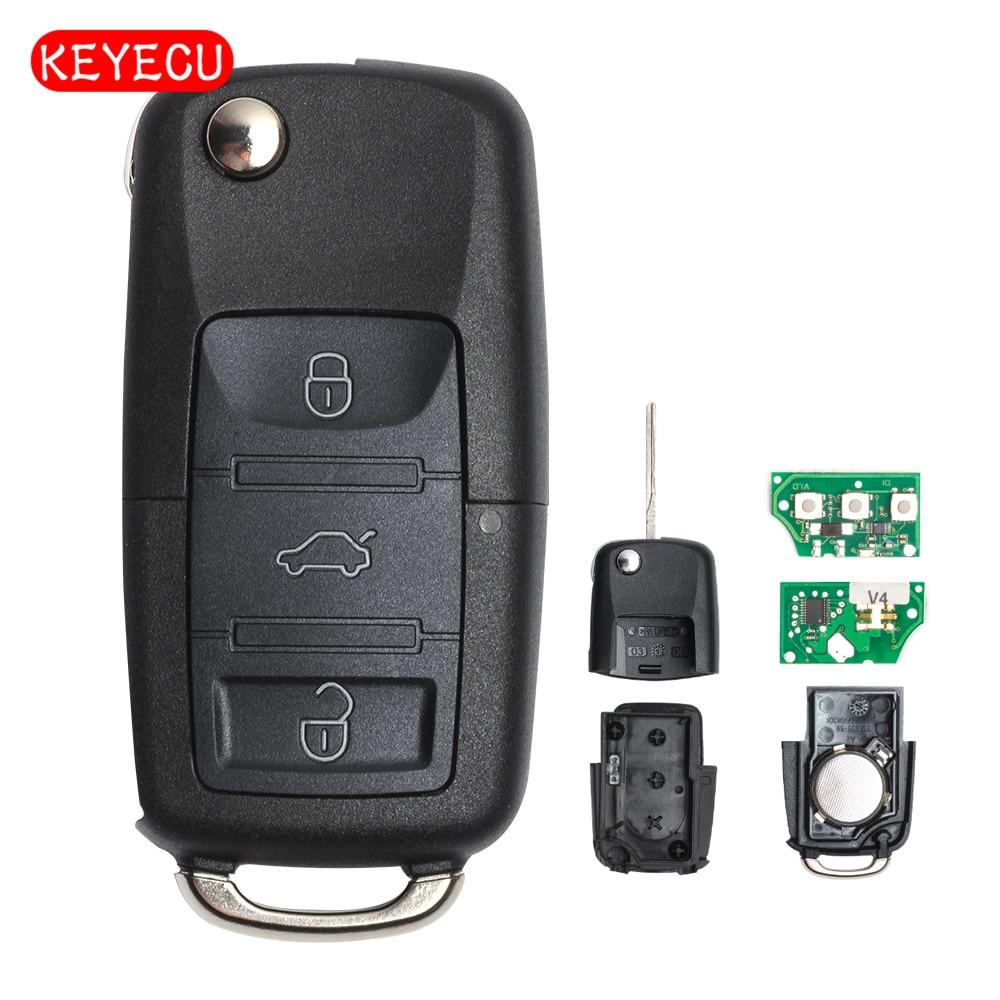 Keyecu Flip Complete Remote Car Key 3B Fob for VW Volkswagen Seat Skoda 2001 2010 433MHz