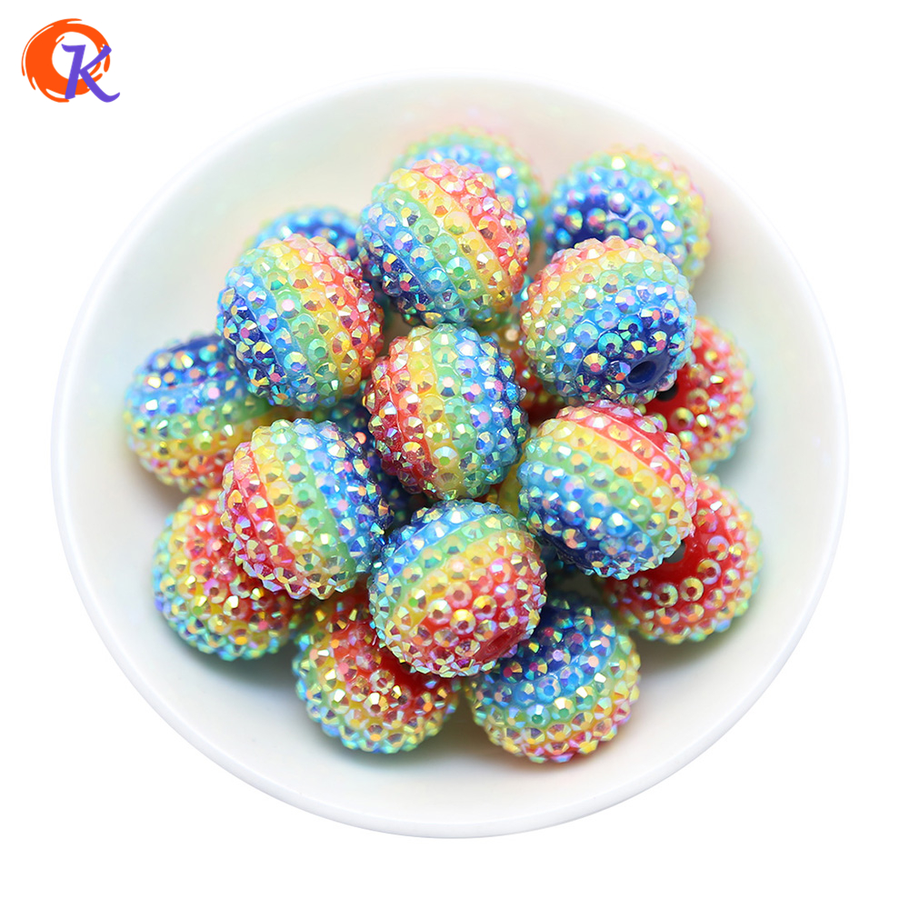 R158 Cordial Design 22MM 100Pcs/Lot Rainbow Color Stripe With AB Rhinestone Bead For Necklace Making Jewelry CDWB-517452 100pcs lot mmbt3906wt1g trans gp ss pnp 40v sot323 mmbt3906wt1g 3906 mmbt3906 mmbt3906w 3906w t3906 making 1e
