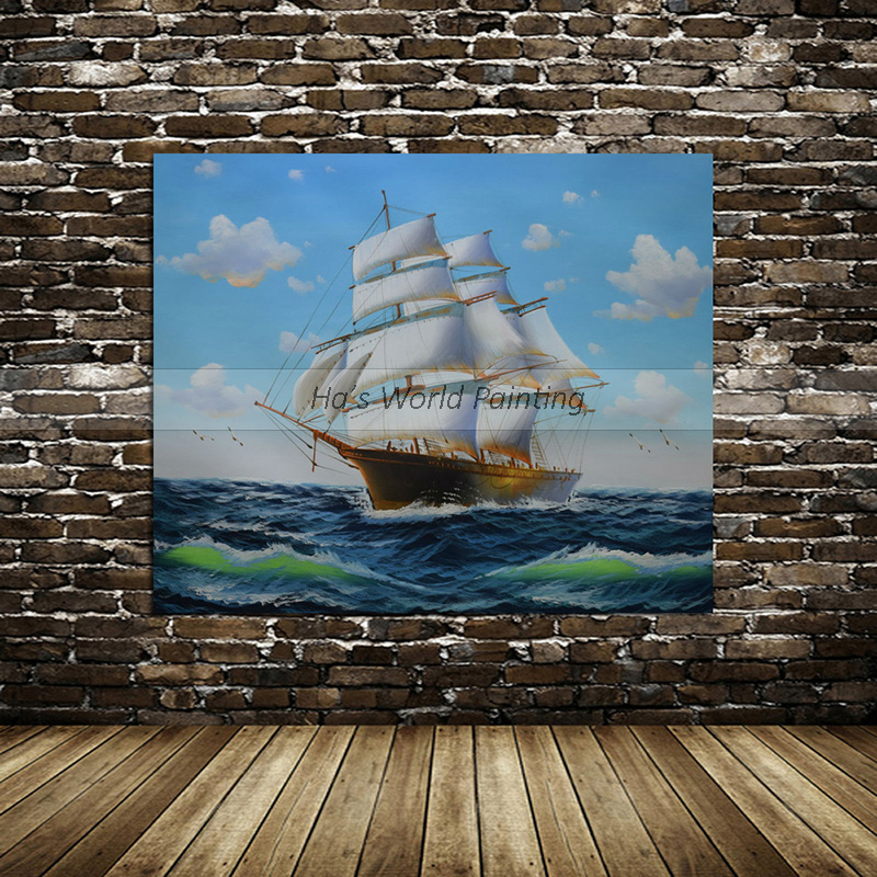 high quality Large 100% Hand Painted Abstract Boat Sea Oil Painting On Canvas Abstract Seascape Wall Art Picture Home Decoration