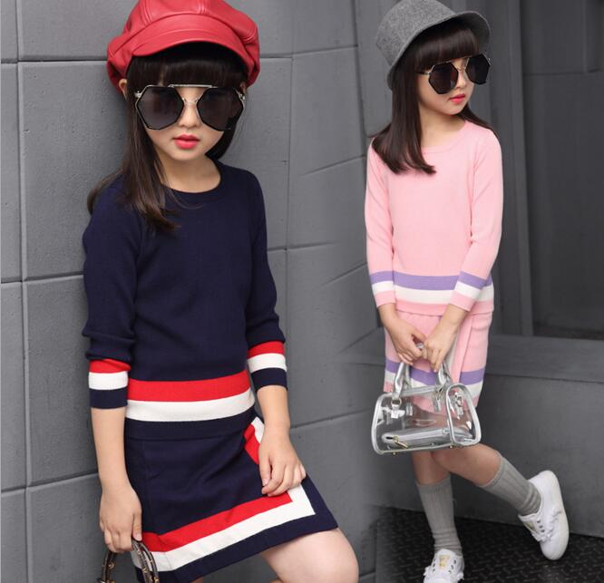Kids Girls Two Pieces Dress Sets Autumn Colored Striped Sweater Knitted Dress Sets Children Knitting Long Sleeve Dress Suits girls knitted dress sets children turtleneck long sleeve sweater suspenders two piece dress sets kids casual dress suits
