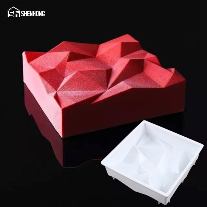 SHENHONG Volcanic Rock Silicone Cake Mold Mousse Pan 3D Baking Art Mould Silikonowe For Muffin Brownie Pastry Non-stick Moule