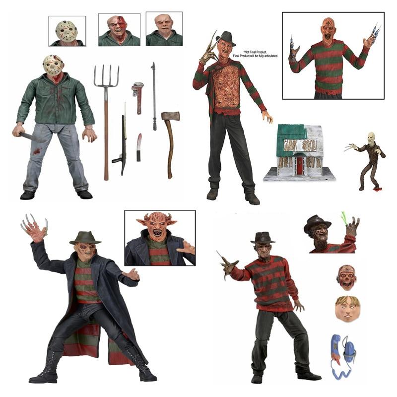 30th Freddy Krueger Jason The Texas Chainsaw MASSACRE Kratos pvc action figure toys 18cm no box neca the texas chainsaw massacre pvc action figure collectible model toy 18cm kt3703