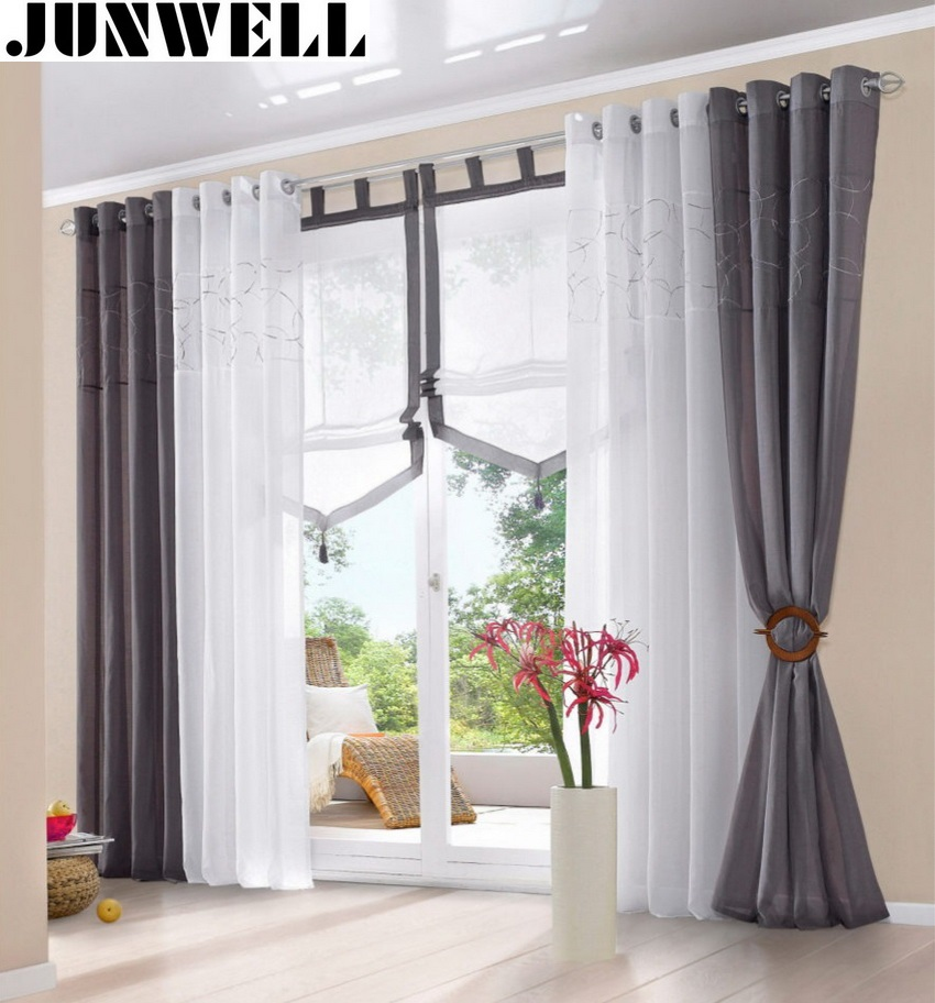 Curtain For Balcony: 100% Polyester Embroidery Panel 4cm Diameter Grommet Top