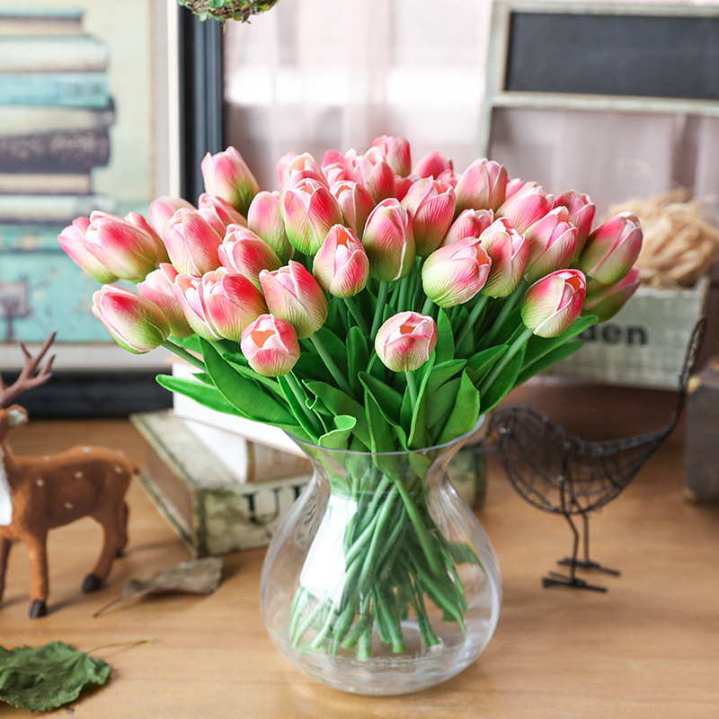 31pieces Artificial  Flowers Branch Tulip  Real Touch Flowers Latex Tulips Flower Artificial Bouquet Fake Flower Bridal Bouquet