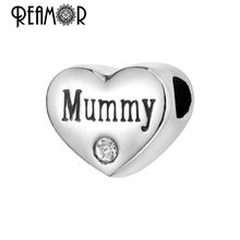 Reamor On Sale High Polished 316l Stainless Steel Heart Beads Crystal Mummy Charms Beads For Bracelet Jewelry Making Mom Gift(China)