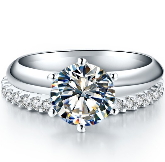 Guarantee White Gold 585 2CT Engagement Ring Solitaire Prongs 0.55CT Wedding  Band Infinity Simulate Diamond