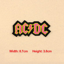 1PC Patches For Clothing Embroidery Badge Text Word AC DC Patches For Apparel Bags DIY Accessories
