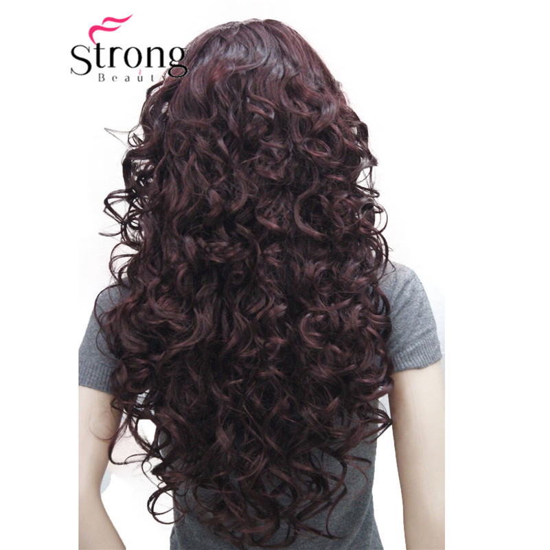 5950 99Tfashion sexy Red Wine long curly womans full wig (4)