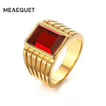 Meaeguet 14mm Wide Men's Square Created Red Stone Rings Gold-Color Stainless Steel Jewelry Bague Anillos US Size 7-11(China)