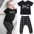 2 pcs Criança Crianças Bebê Meninos Recém-nascidos Um Selvagem Shirt Tops e Grade Pant Outfit Clothes Set
