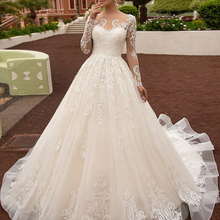 Wedding-Dresses Bridal-Gowns Court-Train Loverxu Appliques Long-Sleeve Vintage Plus-Size
